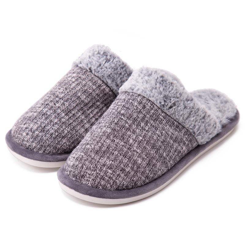 Knitted Cotton Slippers Couple Winter Warm Indoor Thick Bottom Furry Slippers