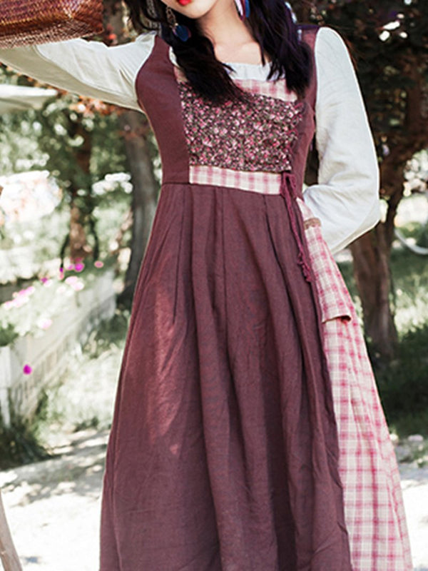Check Cotton and Linen Lolita Dress