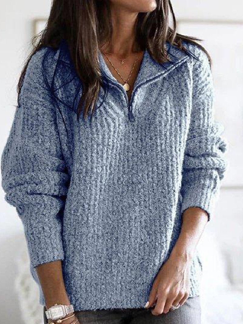 Autumn and Winter Zipper Pullover Long Sleeve Loose Sweater