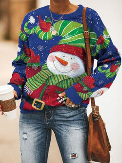 Cute Christmas Snowman Long Sleeve Round Neck Sweatshirt