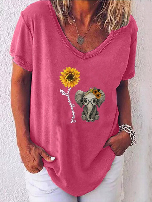 Plus Size Casual V-neck Short Sleeve Elephant Sunflower Printed T-shirt