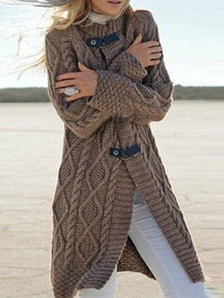 Vintage Twisted Round Neck Knitted Sweater Coat