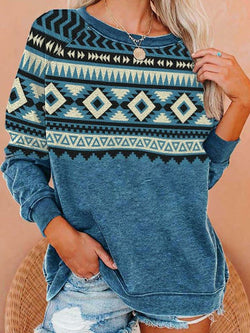 Geometric Pattern Long Sleeve Sweatshirt Tops-3