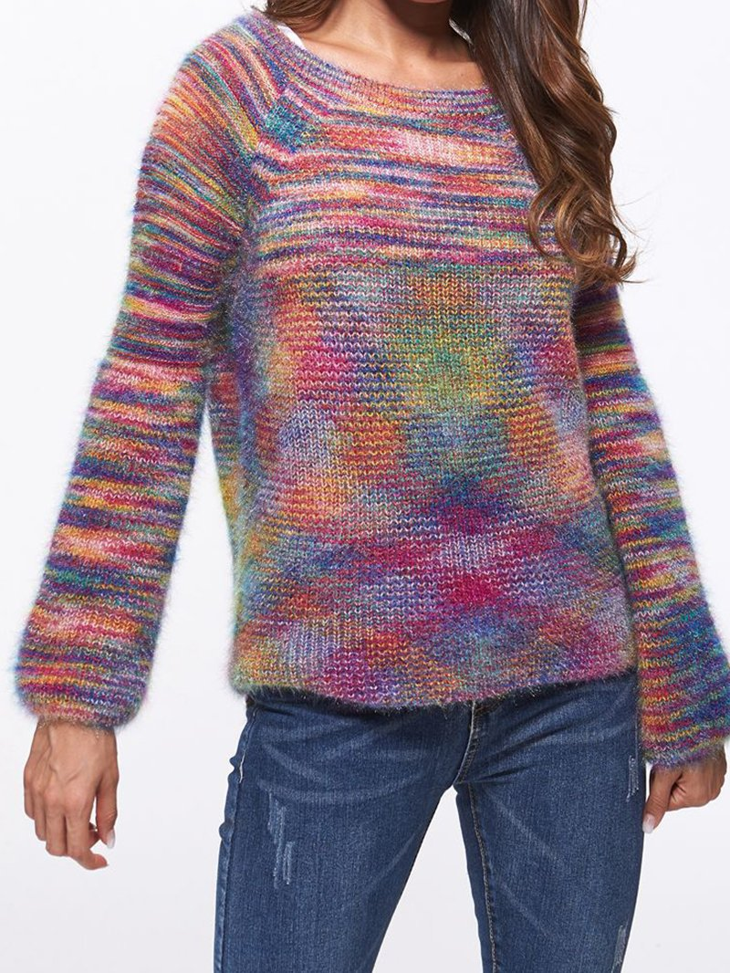 Crew Neck Sweater, Section-dyed, Colored, Loose-fitting Pullover Jersey