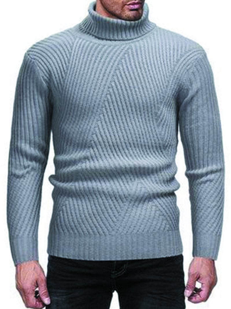 Casual Men's High Round Neck Sweater Sweater