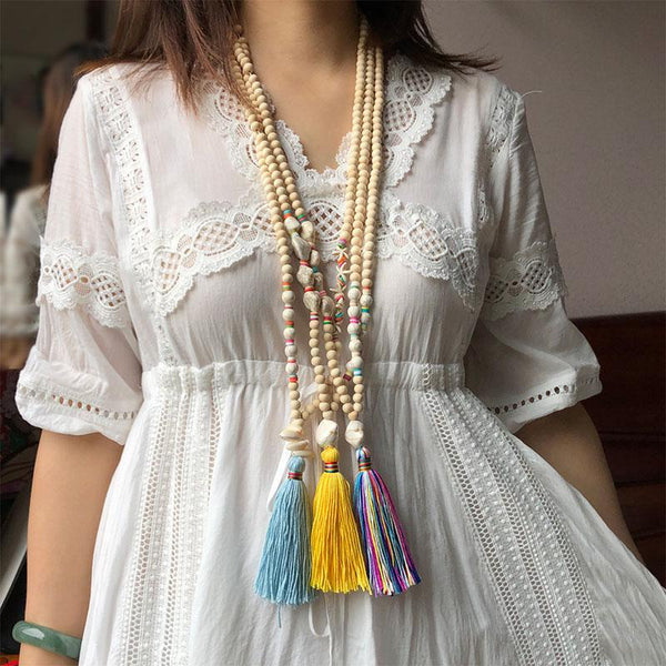 Colorful Tassel Bohemian Beaded Long Necklace