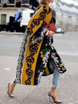 Women's Fashionable Long Printed Loose Coat