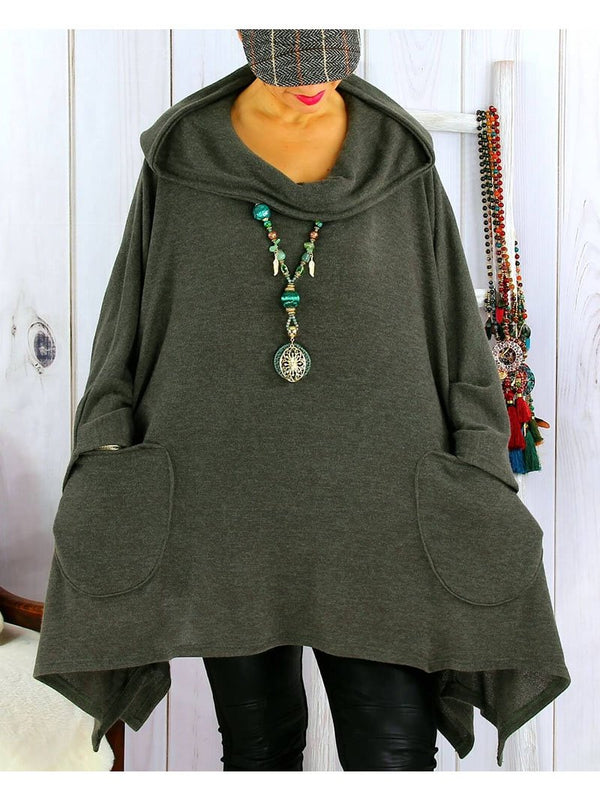 Loose Casual Pocket Hooded T-shirt Top