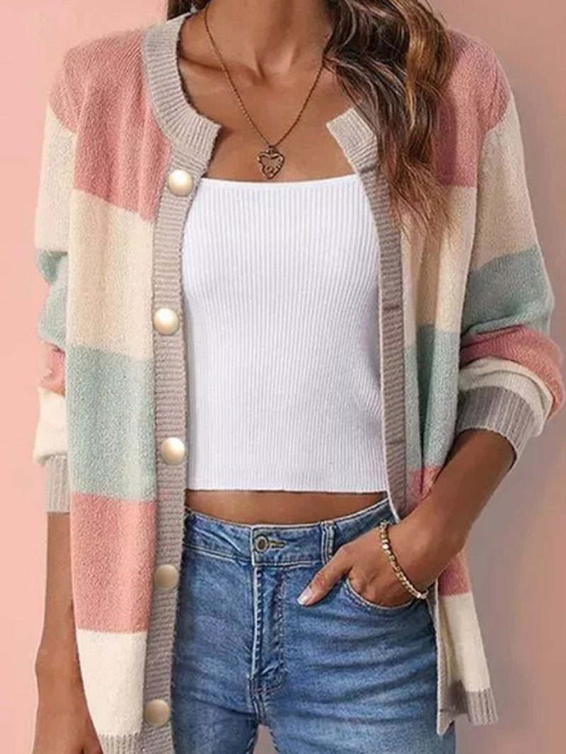 Colour-matched Cardigan Oversized Sweater