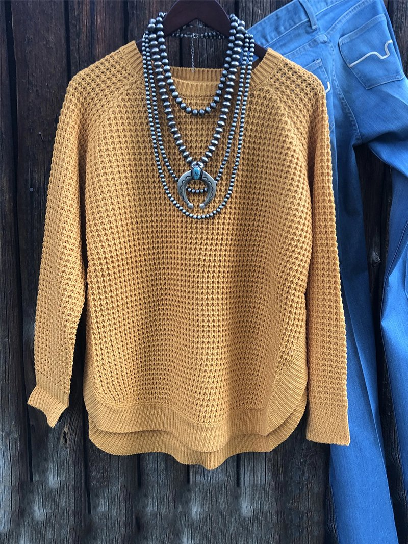 Mustard Yellow Vintage Coarse Crew Neck Sweater