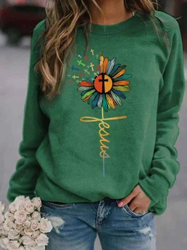 Multicolor Sunflower Long Sleeve Hoodie Sweatshirt