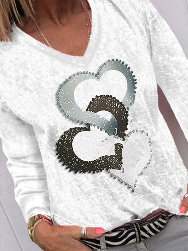 Women's Heart Pattern Long Sleeve Tops