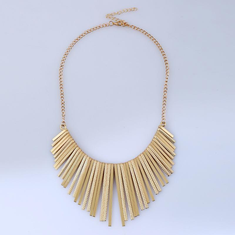 Frosted Metal Tassel Necklace