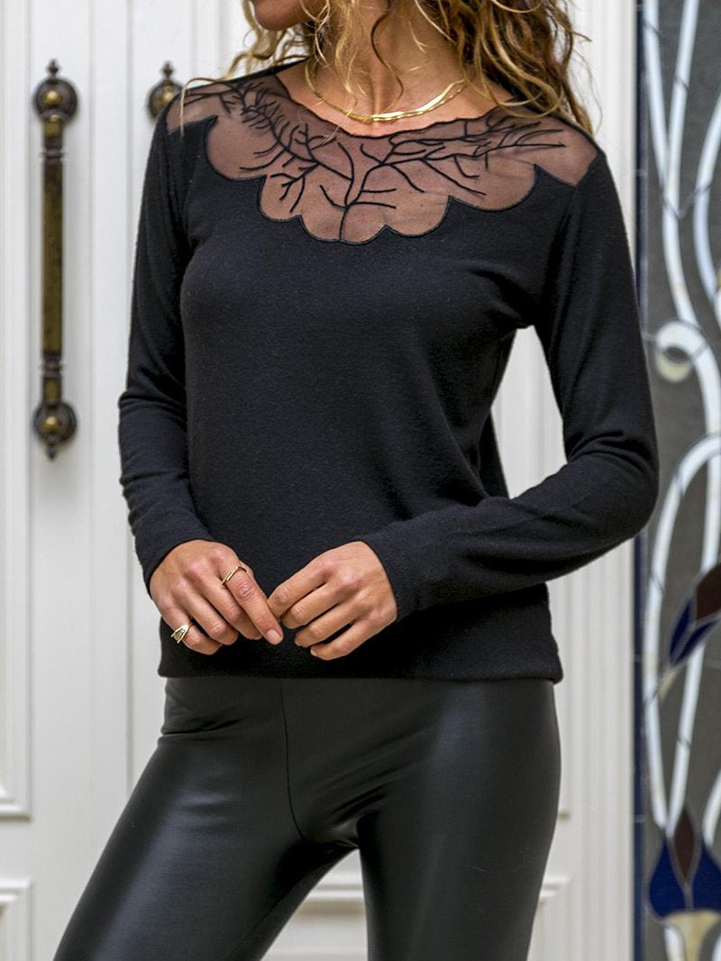 Sexy Lace Crew Neck Top