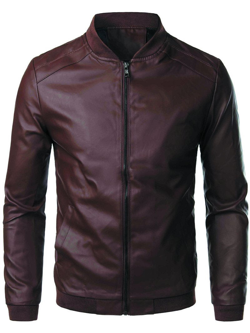 Men's Motorcycle PU Leather Stand Collar Jacket