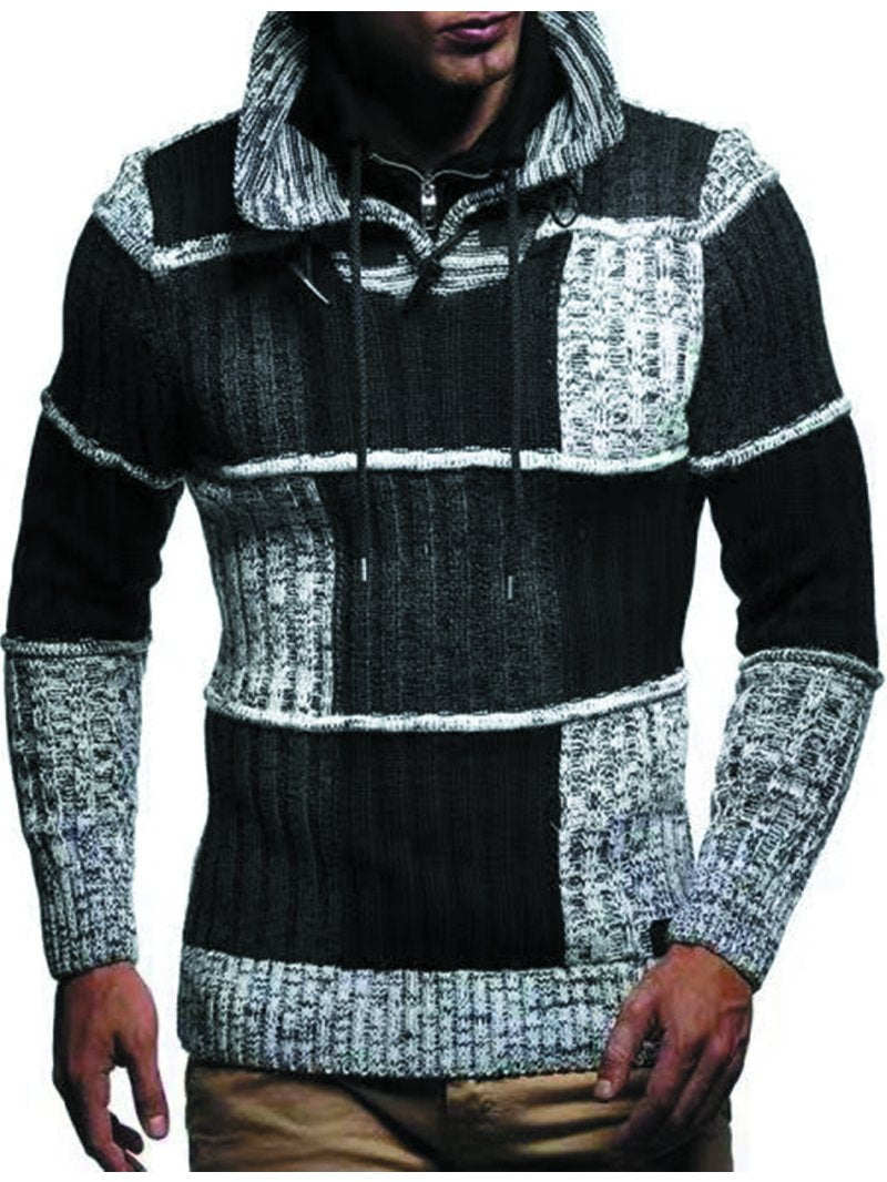 Men's Stand-up Collar Color-block Fashion Sweater
