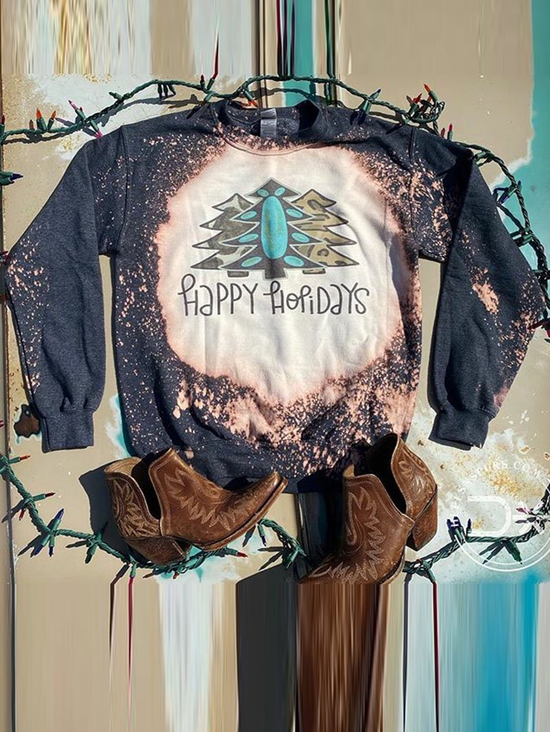 Three-way Printed Old Long Sleeve Sweatshirt Tops