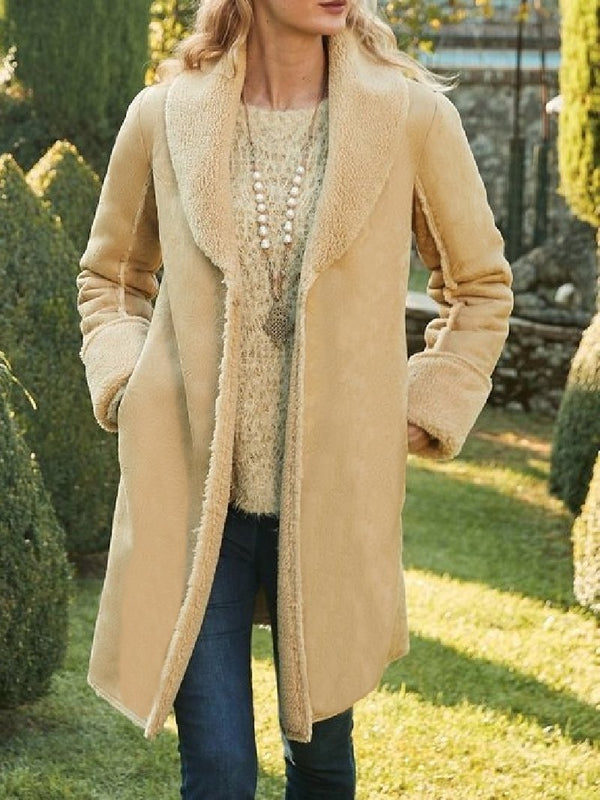Retro Solid Color Lapel Long Sleeve Plush Coat