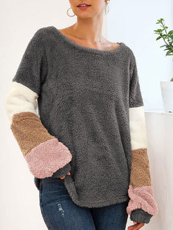 Women's Long Sleeve Contrast Stitching Plush Top