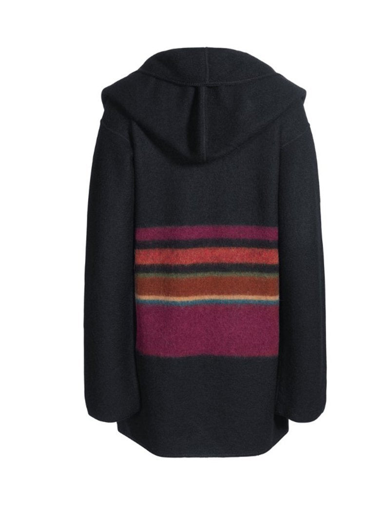Retro Color Matching Hooded Long Sleeve Woolen Coat