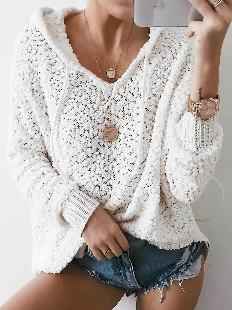 Pure Color Simple Hooded Sweater