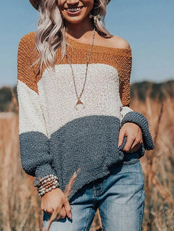 Retro Round Neck Long Sleeve Sweater