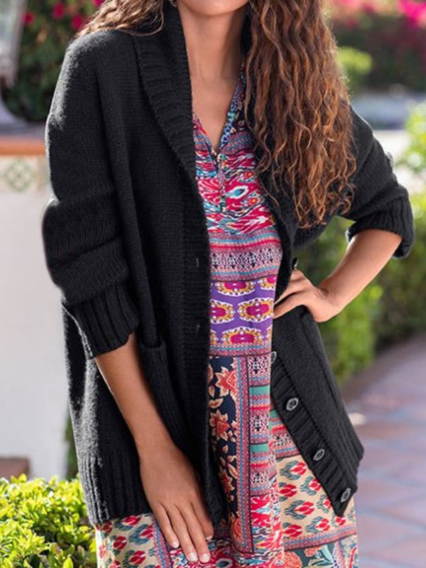 Holiday Floral Pattern Pocket Sweater Cardigan
