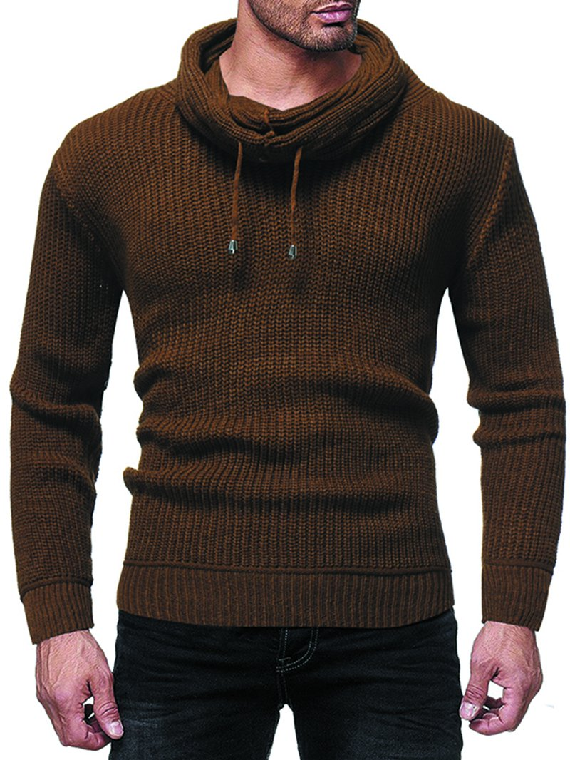 Men's Solid Color Pile Neck Pullover Sweater
