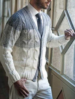 Gradient Woven Pattern Long-sleeved Sweater