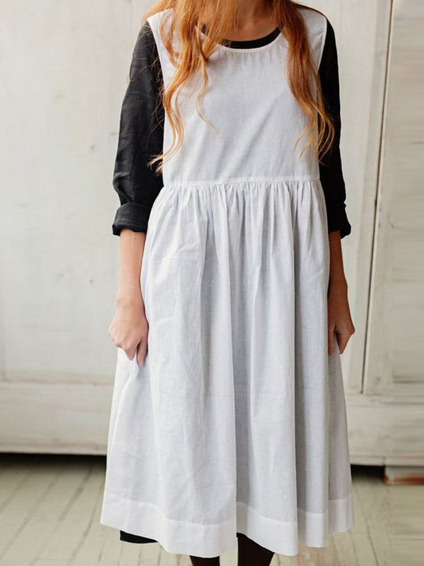 Solid Color Round Neck Cotton and Linen Sleeveless Dress