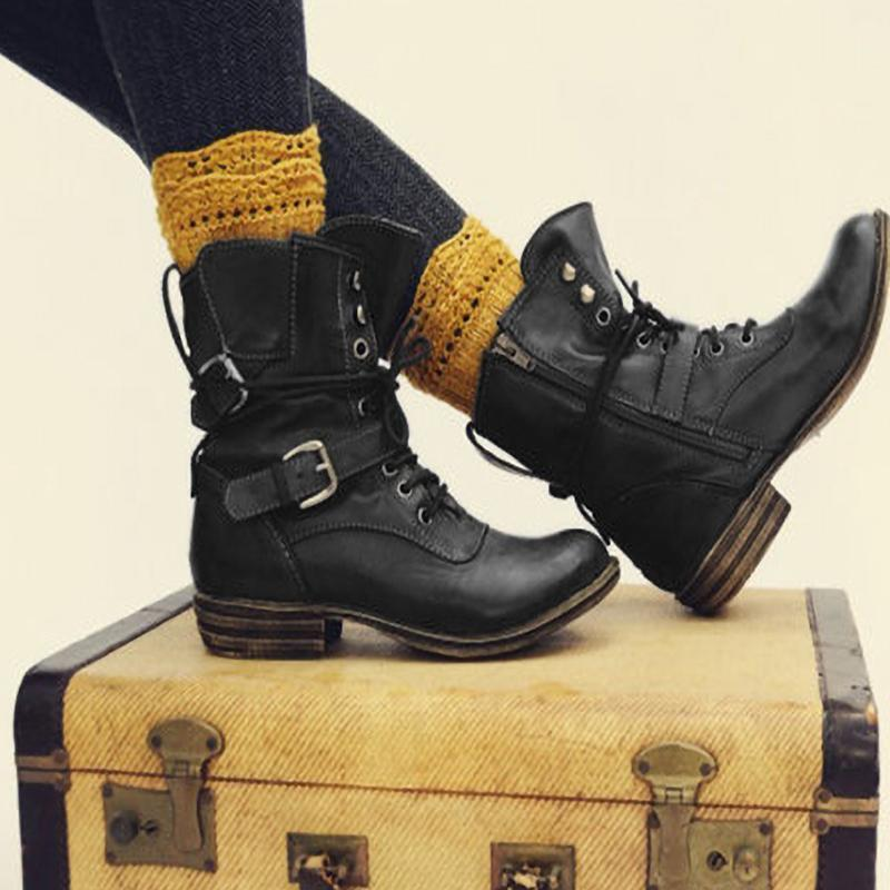 Lace Up Low Heeled Martin Boots Women Boots