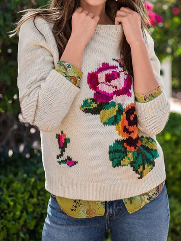 Women's Floral Pattern Holiday Sweater