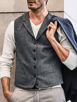 Lapel Single-breasted Trendy Vest