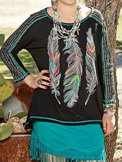 Women's Western Feather T-shirt Round Neck Top