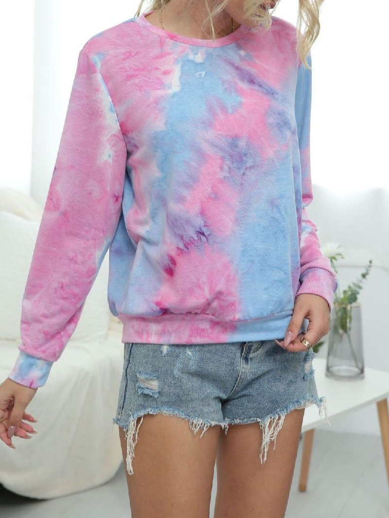 Women's Tie-dye Printed Gradient Round Neck Sweater