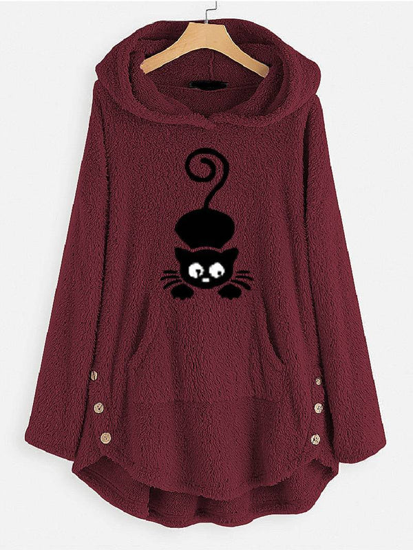 Hooded Cat Pocket Embroidered Sweatshirt