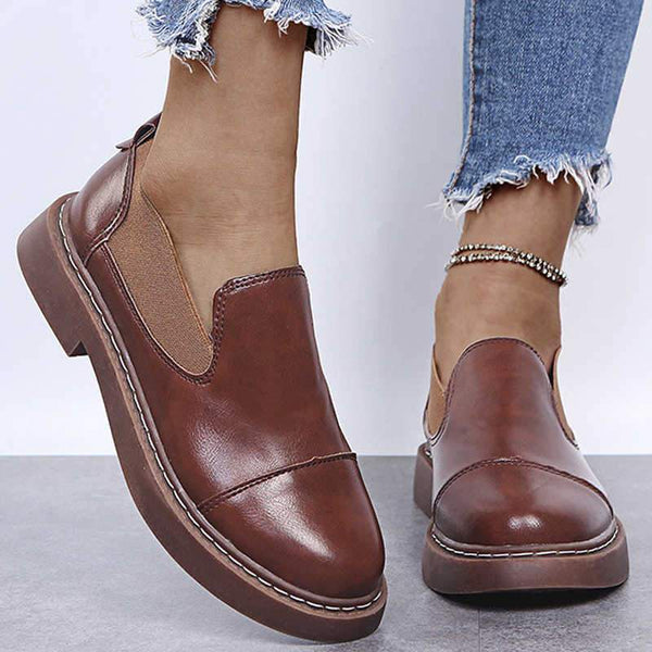Women's Small Leather Shoes Shallow Non-slip Soft Sole British Style