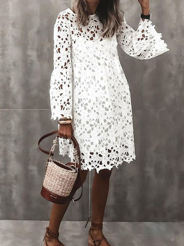 V-neck Lace Flared Sleeve Ruffle Dress