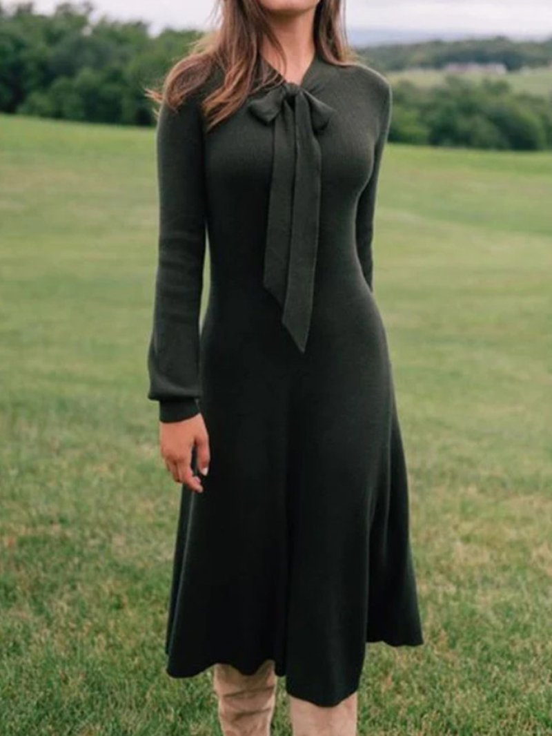 Fall & Winter Tie Knot Solid Color Long Sleeve Dress