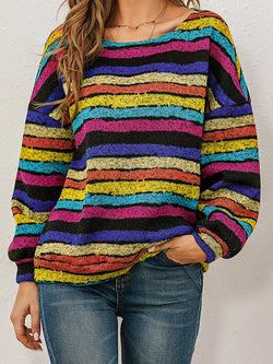 Retro Rainbow Striped Sweater