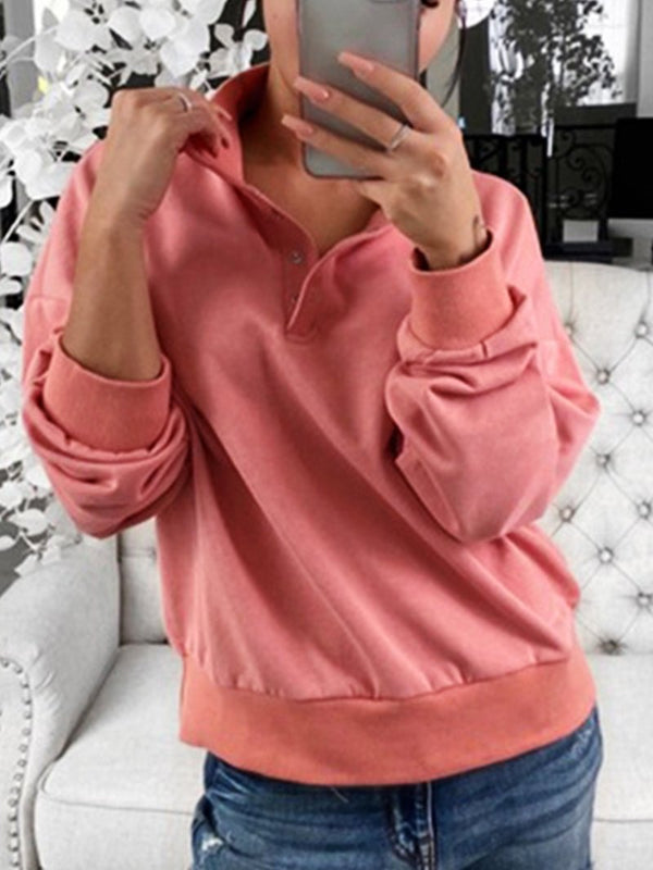 Fall Winter Lapel Sweatshirt Sweatshirt Tops