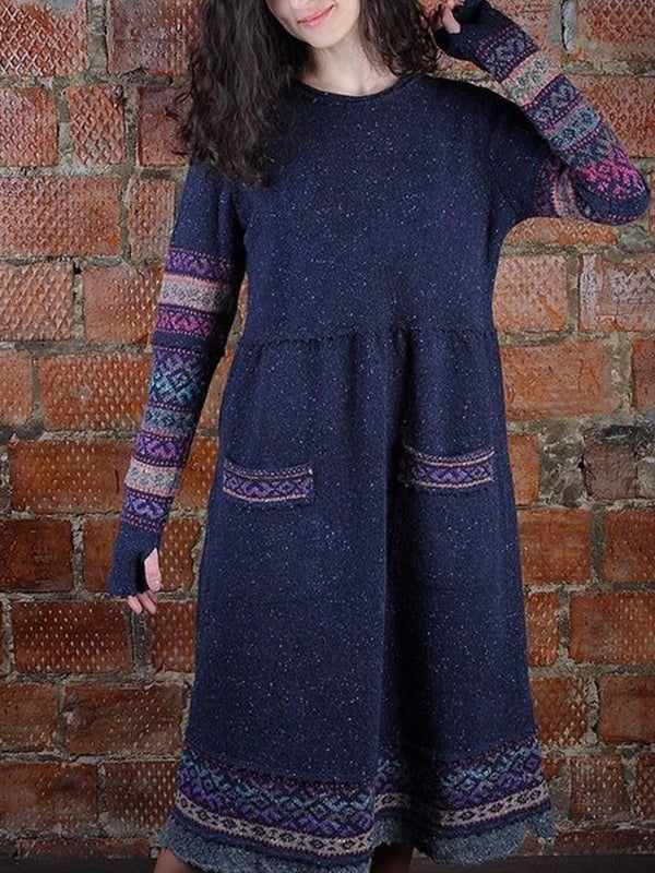 Vintage Jacquard Crew Neck Sweater Dress