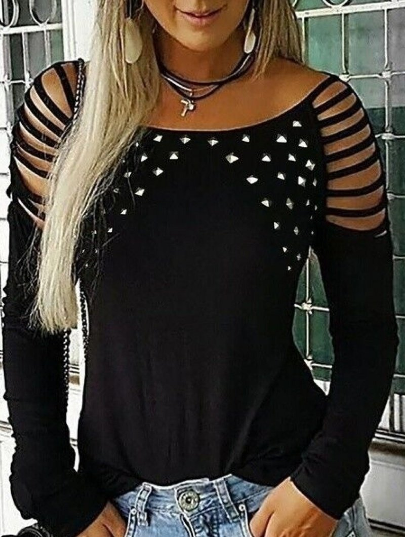 Round Neck Studded and Rhinestone Perforated Long Sleeve Blouse