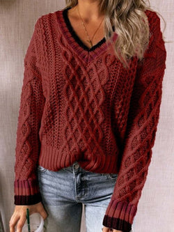 Soft Cut-Out Sweater Thin V-neck Knitwear
