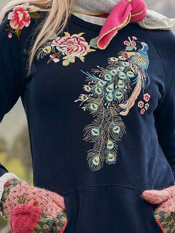 Casual Peacock Print Long Sleeve Pocket Dresses