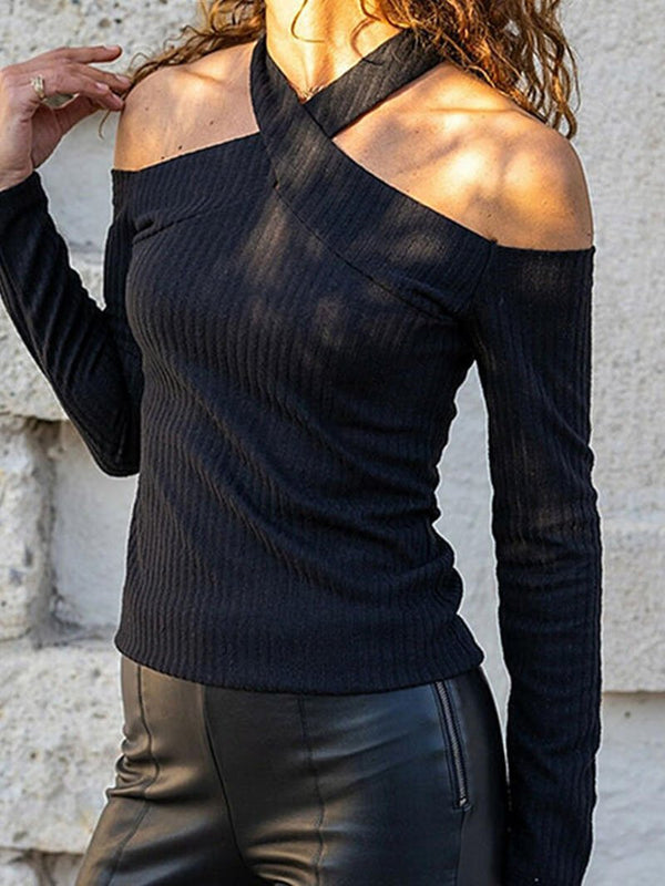Women's Solid Color Hanging Neck Long-sleeved Tops