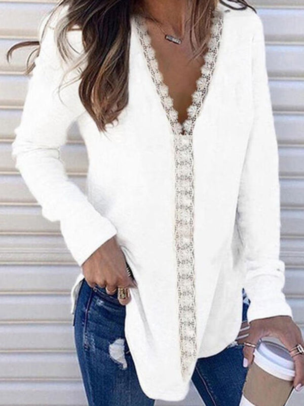 Women's V-neck Lace-trimmed Patchwork Long-sleeved Tops