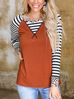 Striped Stitching Round Neck Retro Long-sleeved Top