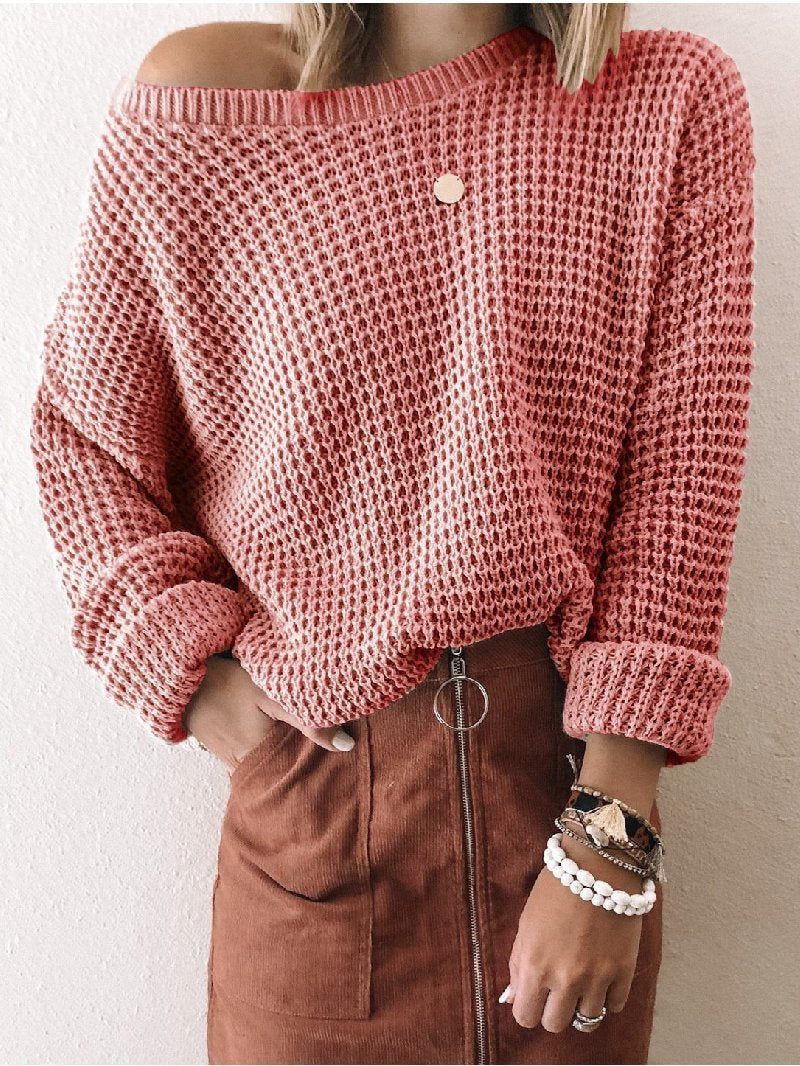 Fashion Solid Color Diagonal Collar Short Long Sleeve Knitted Sweater