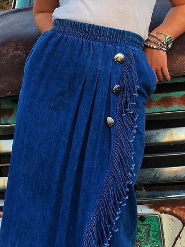 Vintage Solid Color Fringed Skirt